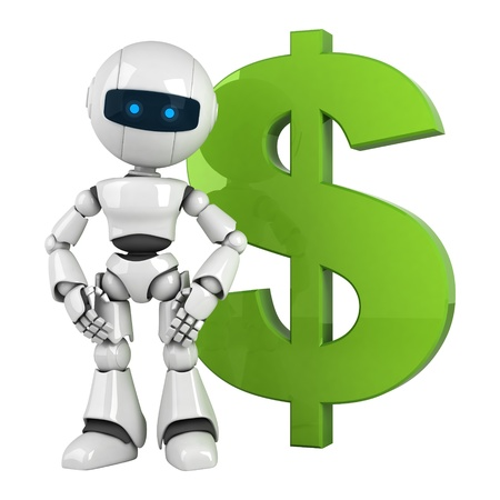 funny robot: Funny white robot stay with green dollar