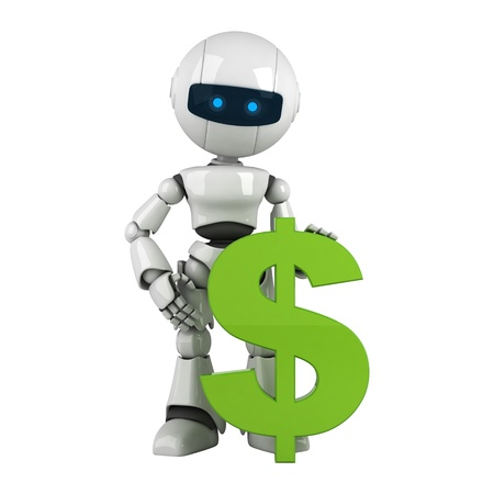 funny robot: Funny white robot stay with green dollar money sign Stock Photo