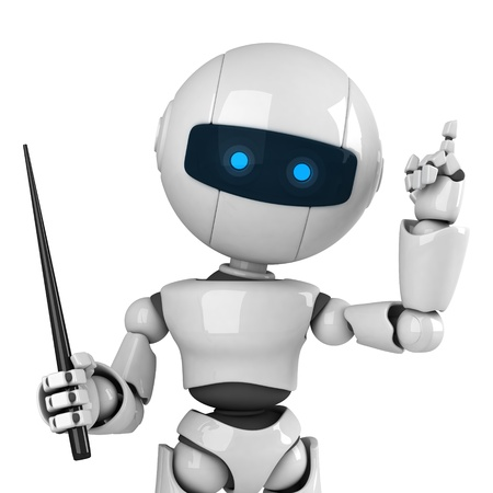 stay: Funny white robot stay with pointer  Stock Photo