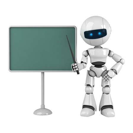 Funny white robot stay with pointer and blackboard Stock Photo