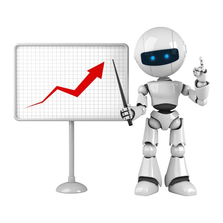 schoolroom: Funny white robot stay with graph