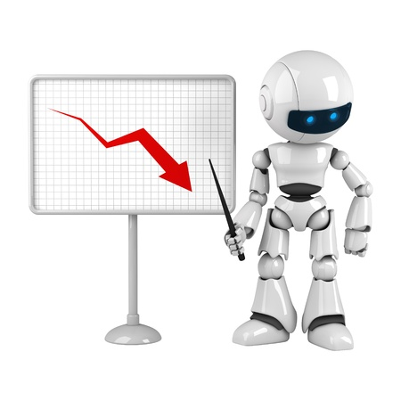 stay: Funny white robot stay with graph
