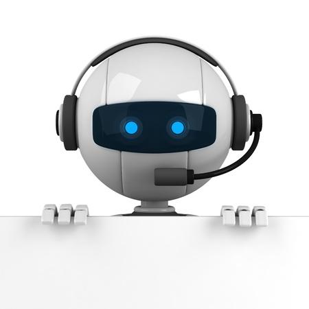 talking robot: Curioso robot blanco quedarse con banner en blanco