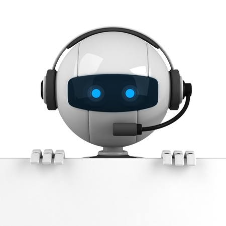 talking robot: Funny white robot stay with blank banner