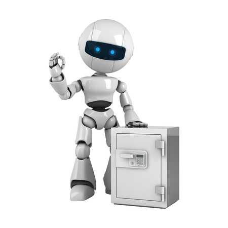 stay: Funny white robot stay with safe  Stock Photo