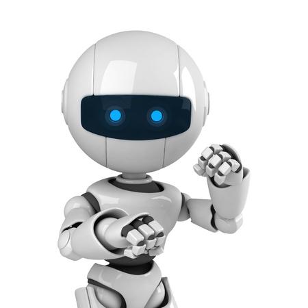 modern fighter: Divertente soggiorno robot bianco come combattente Archivio Fotografico