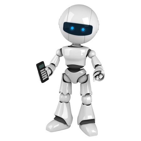 stay: Funny white robot stay with calculator  Stock Photo