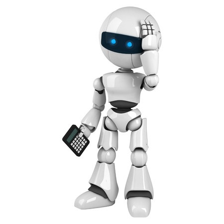 calculations: Funny white robot stay with calculator  Stock Photo