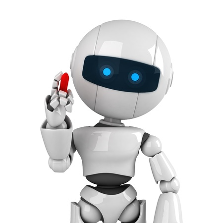 Funny white robot stay and pen write message Stock Photo - 10042437