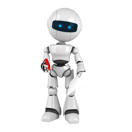 Funny white robot stay with marker and blank document photo
