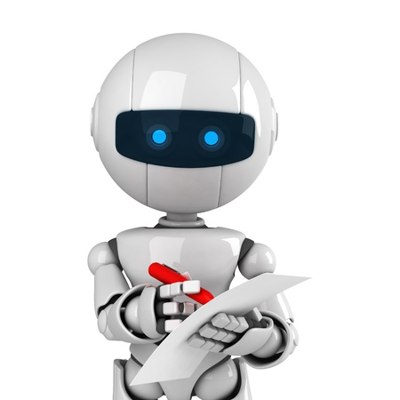 robot: Robot blanco divertido quedarse con pluma y documento en blanco Foto de archivo
