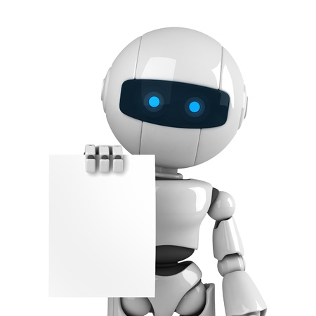 Funny white robot stay and show blank document