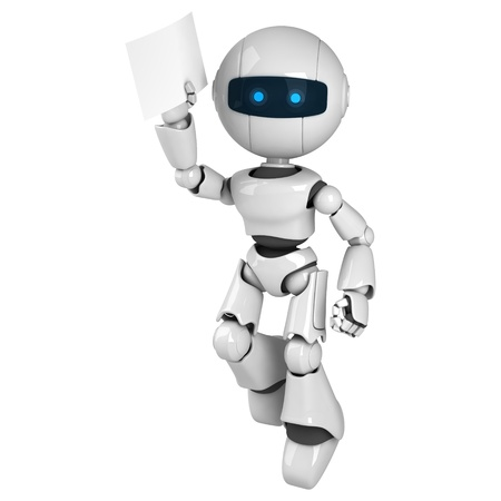Funny white robot jump with document  Stock Photo - 10042493
