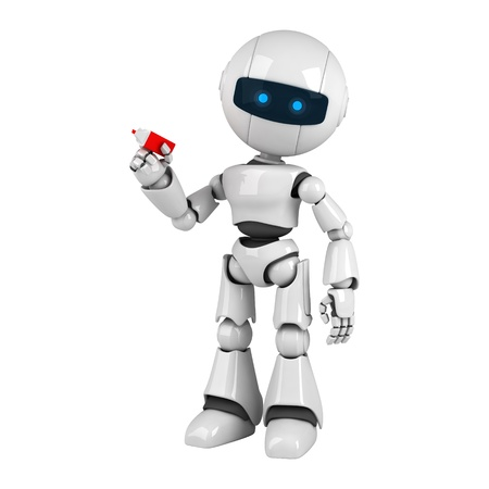 stay: Funny white robot stay with marker  Stock Photo