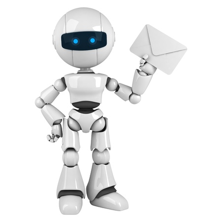 Funny white robot stay and show mail photo