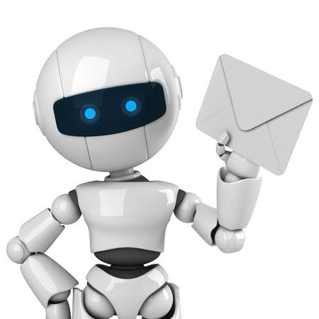 robot: Robot blanco divertido quedarse y mostrar correo Foto de archivo