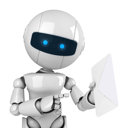 Funny white robot give mail Stock Photo - 10042485