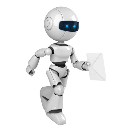 funny robot: Funny white robot run with mail Stock Photo