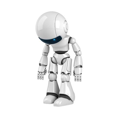 robot: Funny white robot stay broken