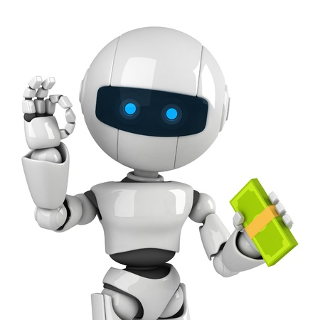 Funny white robot stay with money and show ok