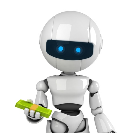 give money: Funny white robot stay and give money