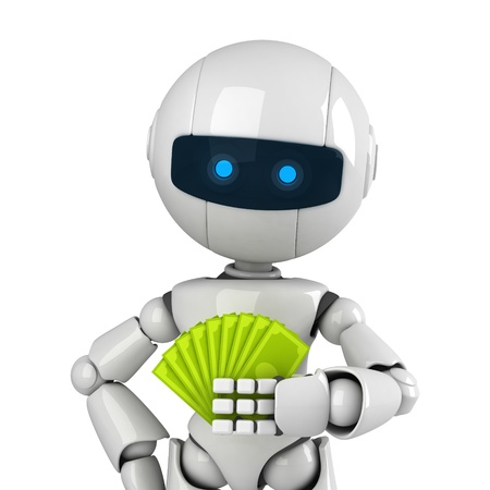 Funny white robot stay and show money Stock Photo - 10042791