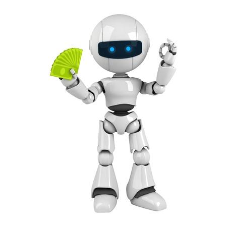 funny robot: Dr�le de robot blanc rester avec l'argent et de montrer ok