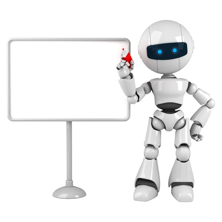 Funny white robot stay with blank board and marker Stock Photo - 10042444