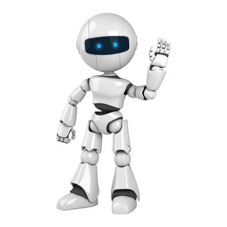 funny robot: Funny white robot stay show hello