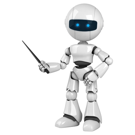 instruct: Funny white robot stay with pointer  Stock Photo