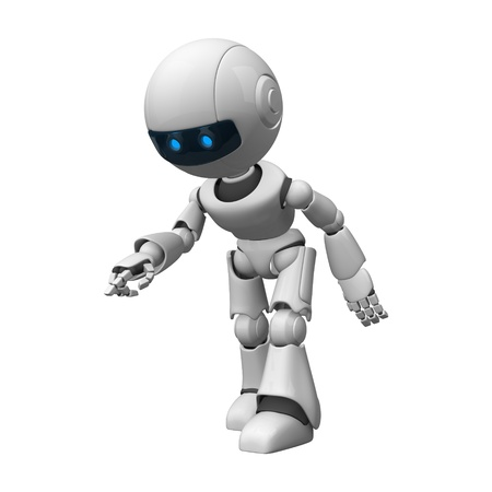 funny robot: Funny robot stay and show point from hand and fingers Stock Photo