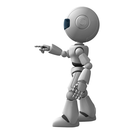 Funny robot stay and show point from hand and fingers photo