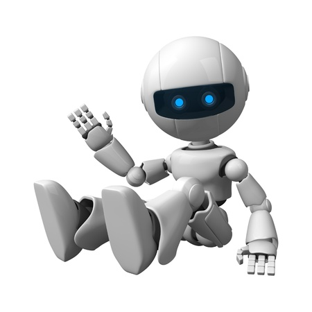 Funny robot sit and show hello Stock Photo - 10065478