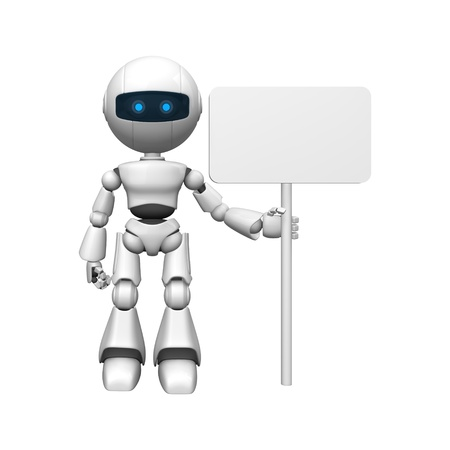 Funny robot stay with blank banner Stock Photo - 10065289