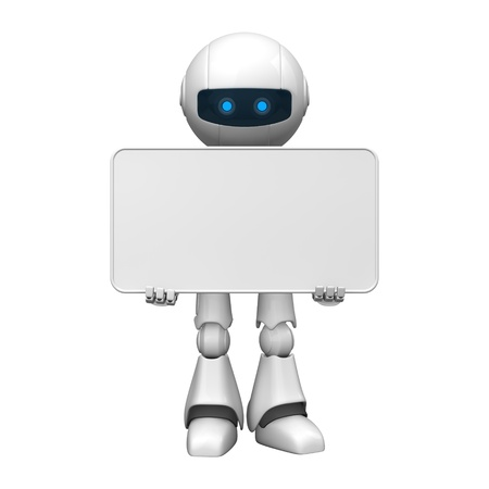 robot: Funny robot stay with blank banner