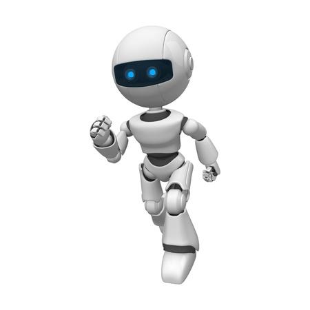 funny robot: Funny white robot running