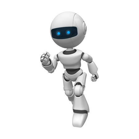 staying: Funny white robot running