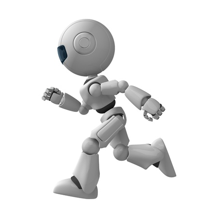 Funny white robot running Stock Photo - 10065336