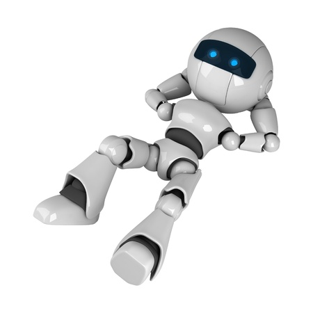 Funny white robot lie and look Stock Photo - 10065402