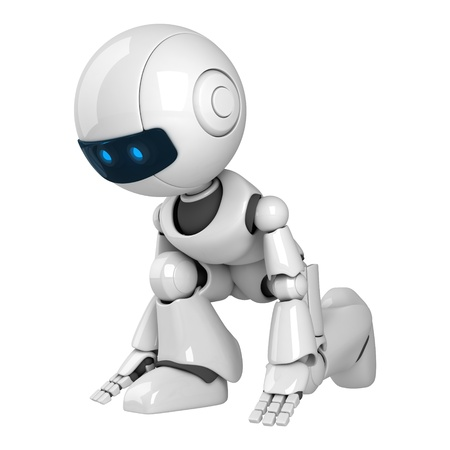 funny robot: Funny white robot getting ready