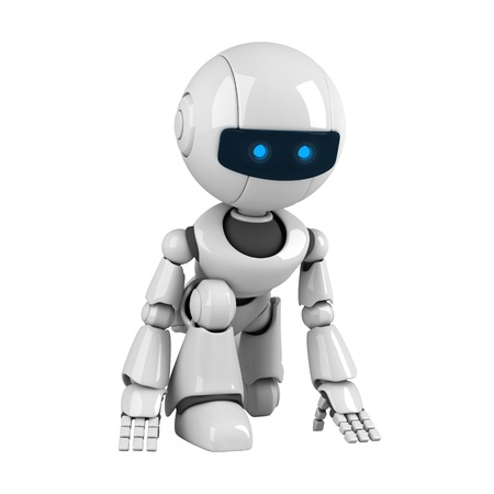 Funny white robot getting ready Stock Photo - 10065435