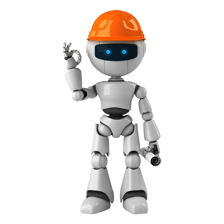 robot: Funny white robot with blueprint on hard hat