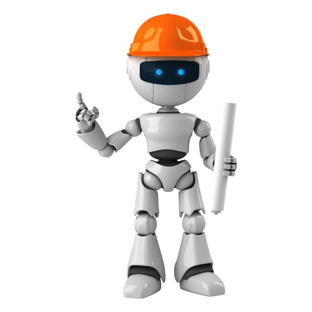 Funny white robot with blueprint on hard hat Stock Photo - 10065403