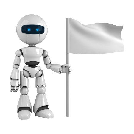 Funny robot stay with flag  Stock Photo - 10065444