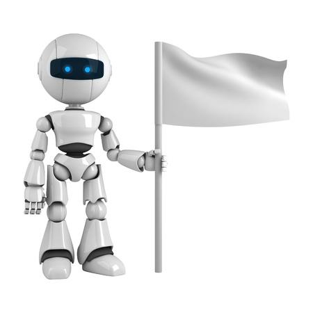 funny robot: Robot dr�le rester avec le drapeau