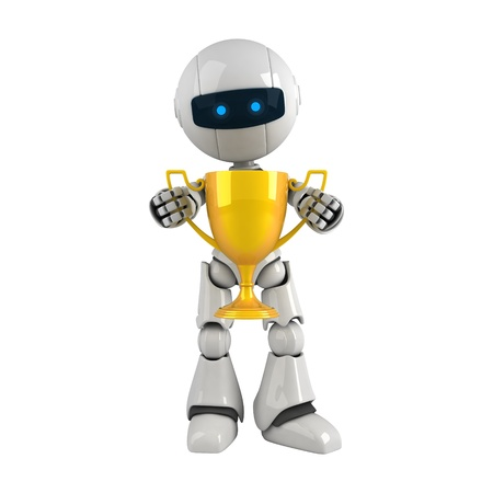 funny robot: Funny robot stay with gold trophy cup