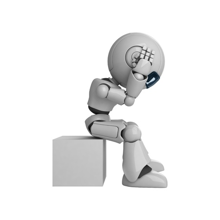 Funny robot sit and hold head photo