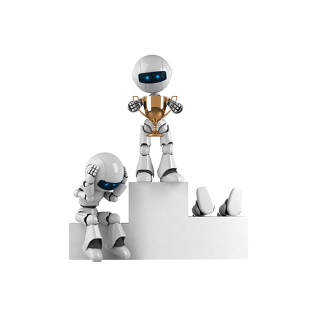 stay: Funny robots stay with trophy cup
