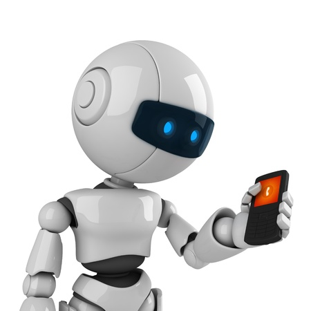 robot: Funny robot stay and talk on mobile phone
