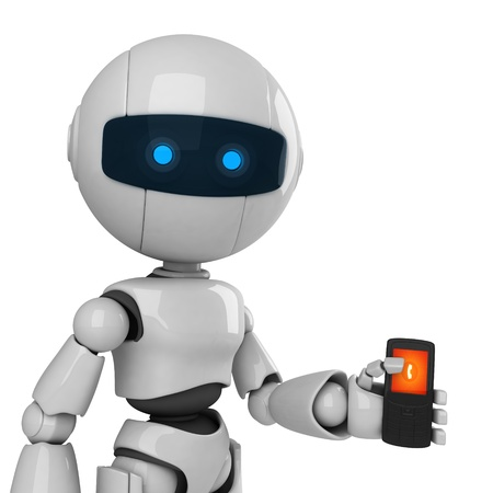 Funny robot stay and talk on mobile phone